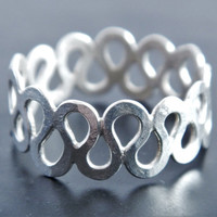 Sterling Silver Eternity Wave Ring, Unique Wedding Ring, Unisex Ring, Gift for Him, Gift for Her, Wide Ring, Statement Ring, Thumb Ring