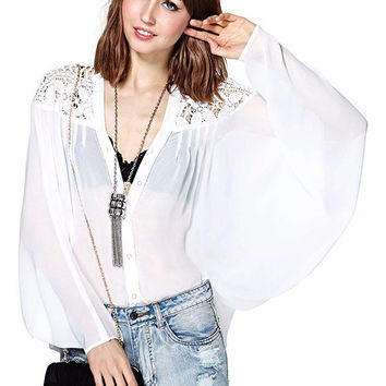 Long Sleeve V-Neck with Floral Crochet Lace Accent Chiffon Blouse