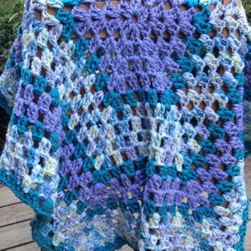 Crocheted baby afghan in grey, teal and hints of green.  Ready to ship  FREE STANDARD SHIPPING