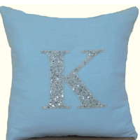 Monogram Pillow -Decorative Throw Pillow -Blue Silver Pillow- Personalized Custom Made Letter -Dorm -Housewarming -Wedding -Baby -Gift 16x16