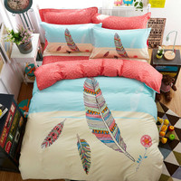 Fashion feather pattern high end cotton linens bedding sets Twin/Single/Double/Queen size duvet cover+bedsheet+pillowcases