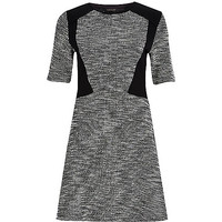 River Island Womens Black block panel fit and flare dress