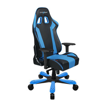 DXRacer-Black & Blue-Commercial Big & Tall Executive Chair-Leather High-Back Adjustable Chair-Home Deluxe Office chair-KS06NB