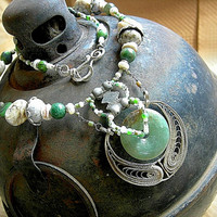 Ethnic Statement Necklace, Soft Greens & Silver. Tribal Elegance .Bellydance Jewelry