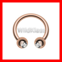 Rose Gold Horseshoe Ring Gemmed Balls 16g Septum Horseshoe 14g Cartilage Earrings Nipple Ring Circular Barbell Tragus Jewelry Helix Conch