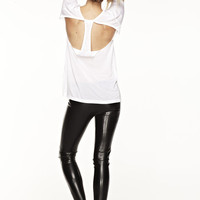 COPACABANA CUT OUT TEE at LNA Clothing in  WHITE, BLACK