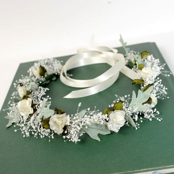Woodland Crown, Bridal Floral Halo, Dried Flower Circlet, Rustic Babys Breath Hair Wreath, Wedding Headband, Australian Country Wedding