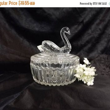 ON SALE - Swan Powder Jar, Vintage Jeannette Glass Trinket Box with Lipstick Holder, Clear Crystal Vanity Decor