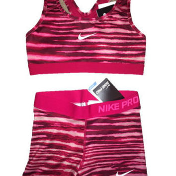 Nike Pro Compression Shorts and Sports Bra Spandex Pink Tiger Stripe Print SET!