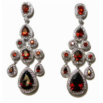Ariana Ruby Vintage Sassy Chandelier Statement Earrings | Cubic Zirconia | Silver