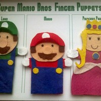 Super Mario Set of 3 Felt Finger Puppets YOU CHOOSE by AliBush