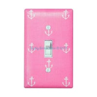 Pink Anchor Nursery Decor Light Switch Plate Cover / Nautical Kids Room / Baby Girl / Bathroom / Out to Sea Blossom by Michael Miller