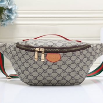 GUCCI Woman Men Fashion Leather Waist Bag Single Shoulder Bag Chest Bag