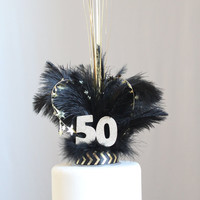 Fabulous 50 Gatsby feather & sparkler cake topper