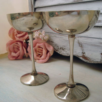 Vintage Silver Plated Goblets, Leonard Pair of Goblets, Shabby French Cottage Chic Decor, Made in Italy