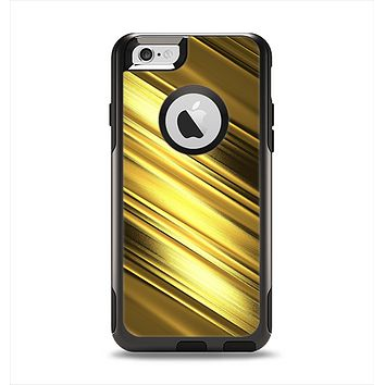 The Shimmering Slanted Gold Texture Apple iPhone 6 Otterbox Commuter Case Skin Set
