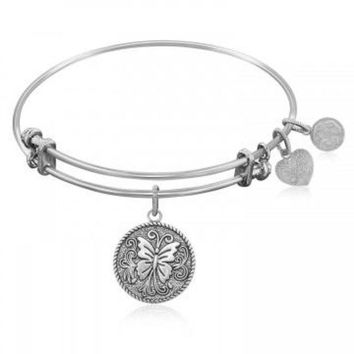 ac NOVQ2A Expandable Bangle in White Tone Brass with Butterfly Transformation Symbol