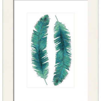 Watercolor Feathers Print, Decorative Wall Decor, Nature Wall Art, Turquoise Feathers, Giclee Print