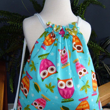 Child Drawstring Backpack - owls blue pink orange girls kid toddler children lightweight cotton fabric - Sac à dos pour fillette