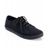 Breckelle Cooper-01W Black Out Low Top Lace Up Canvas Sneaker BLACK CANVAS