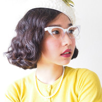 Vintage Style Eyeglasses cat eye By Lemon Eyeglass CO. White and Clear Two Tone color Frames Good size