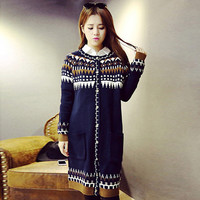 Zigzag Geo Print Knit Long Sleeve Cardigan