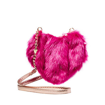 FUR YOUR EYES ONLY HEART CROSSBODY: Betsey Johnson
