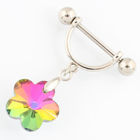Piercing Retail 2 pieces/lot Four color Woman body Piercing jewelry Nipple ring flower 14G 316L surgical steel bar Nickel-free