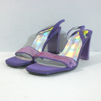 SALE 35% Off April 7-9 / 1990s Purple Sequin High Heels - Women's Size 8 Medium - 90s Strappy Iridescent Dressy Sandals