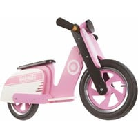 kiddimoto kids learn to ride no pedal wooden balance bike scooter pink strip new