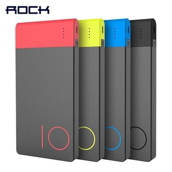 Colorful 10000mAh Power Bank, ROCK Slim External Battery Power Bank 10000 mAh for Xiaomi Mi Fast Charging Powerbank