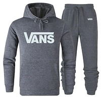 Vans Fashion New Letter Print Women Men Sports Leisure Hooded Long Sleeve Top And Pants Two Piece Suit Gray