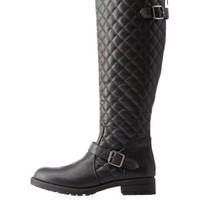 Black Lug Sole Quilted Riding Boots by Charlotte Russe