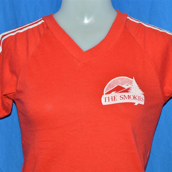 70s The Smokies Mountains Red White Striped V-Neck Jersey t-shirt Extra-Small / Youth Large