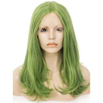 Grass Green Shoulder Length 17 Inch Straight Synthetic Lace Front Wig