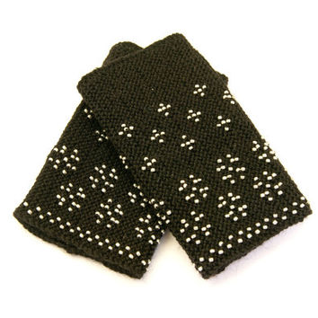 Handmade Beaded black Wrist warmers, cuffs with silver beads, wool, flowers ornament Ready to ship