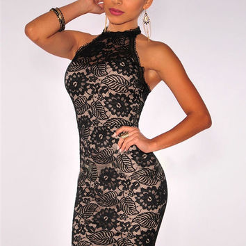 Black Floral Lace Halter Backless Mini Bodycon Dress