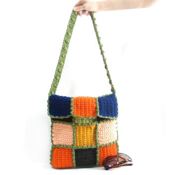 Bags and Purses, Messenger bag, Crochet Bag, Handmade bag, Green handle, Colorful, Tablet bag, Crochet Square pattern, Crochet square bag
