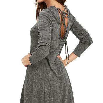 Olive & Oak Pardon Me Grey Long Sleeve Dress