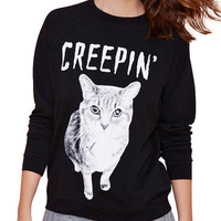 Cat Letter Print Long Sleeve Sweatshirt