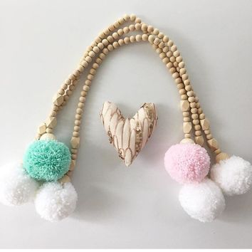 Nordic Handmade Wood Beads and Pompom Tassels, Tent Decoration,  Accessories