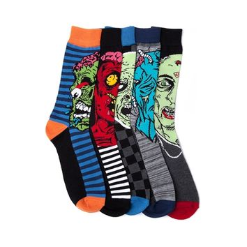Mens Zombie Faces Crew Socks 5 Pack, Multi, at Journeys Shoes
