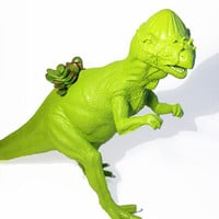 Huge Recycled Lime Green Pachycephalosaurs Dinosaur Planter - With Succulent Plant