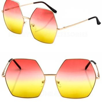 2 PAIR Hippie Oversized Octagon Style Gradient Color Lens SUNGLASSES NEW TREND