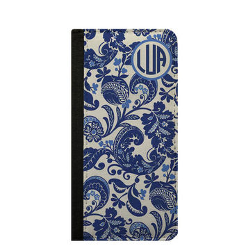 Blue and white pattern monogram iPhone 6s case personalized phone wallet case, Galaxy Note 5 Note 4 iPhone 6 plus case iPhone 5s wallet