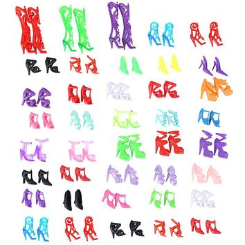40 Pairs Doll Shoes Fashion Cute Colorful Different Styles Assorted Shoes for Barbie Doll Dolls Accessories Baby Toys