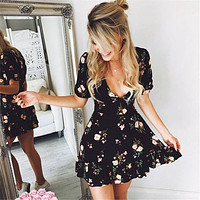 Women Mini Boho Floral Dress Summer Beach Short Sleeve V neck Evening Party bohemian beach dress 2018 Summer style
