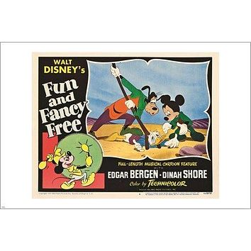 fun and fancy free WALT DISNEY vintage movie poster MICKEY MOUSE 24X36 RARE