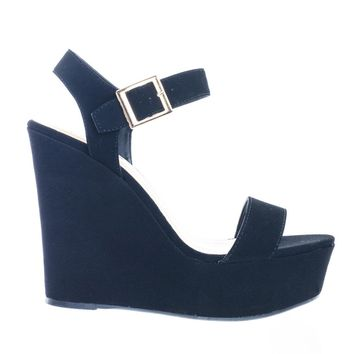 Choice13 by Bamboo Basic Covered High Platform Wedge Open Toe Dress Sandal