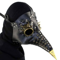 Black PU Leather Gothic Retro Rock Long Beak Plague Bird Mask Doctor Mask Steampunk Halloween Costumes Anime Cosplay Accessories